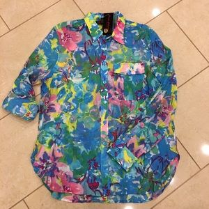 NWT Pleats Collection floral blouse size XL